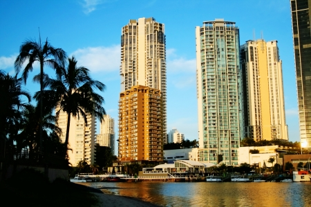 Surfers Paradise skyline in Gold Coast Australia looking across the Nerang River at sunset  Stock Photo - 17227398