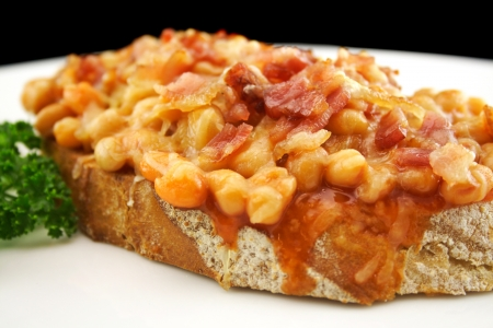 bacon baked beans: Delicious diced bacon with baked beans on sour dough bread.