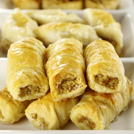 deliciously: Deliciously sweet  fresh baked baklava ready to serve. Stock Photo
