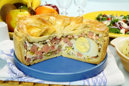 Sliced ham and egg pie with salad and fruit ready to serve. Stock Photo - 17681104