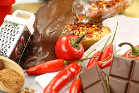 pepper flakes: Delicious dark chocolate with a selection of different chilies and peppers.