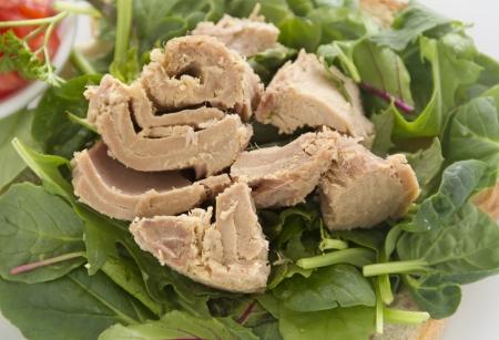 chunk: Delicious freshly prepared open tuna salad sandwich with tomato. Stock Photo