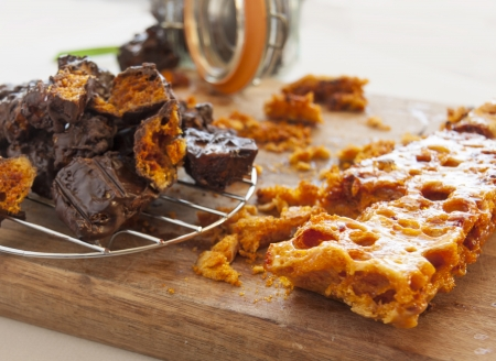 decadent: Decadent fresh baked sweet honeycomb dipped in dark chocolate.