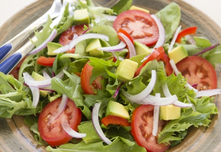 harvests: Delicious healthy tossed garden salad ready to serve.