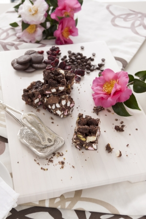 rocky road: Sweet rocky road chocolate and marshmallow ready to serve.