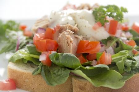 chunk: Delicious freshly prepared open tuna salad sandwich with tomato and spanish onions.
