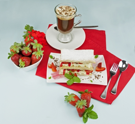 mouthwatering: Delicious strawberry mille feuille with fresh strawberries and Vienna coffee.
