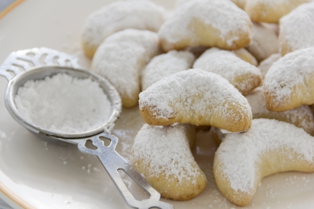 delightful: Delightful fresh baked Kourabiedes which is a Greek butter cookie with icing sugar.
