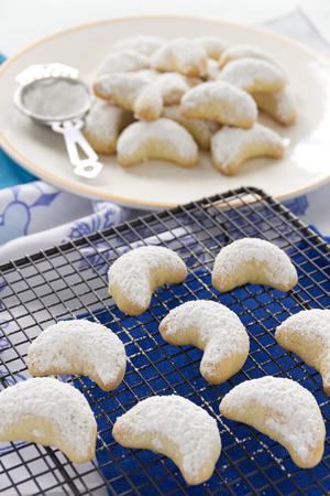 delightful: Delightful fresh baked Kourabiedes which is a Greek butter cookie with icing sugar  Stock Photo