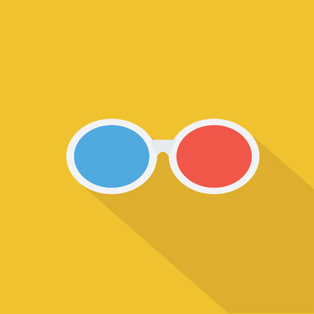 stereoscope: 3D glasses icon , Flat design style, vector illustration. long shadow icon.