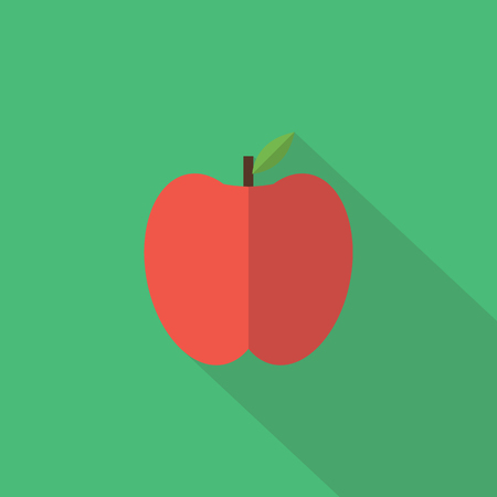 food illustrations: Apple icon , Flat design style, vector illustration. long shadow icon.