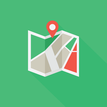 colored: Flat colored location icon Illustration