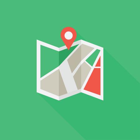 Flat colored location icon Illustration