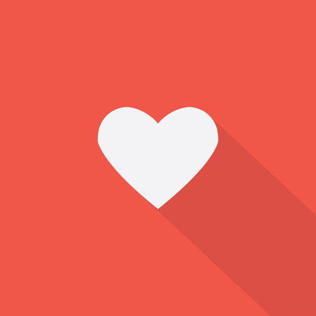 Heart icon , Flat design style, vector illustration. long shadow icon. Stock fotó - 45672895