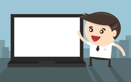 flat screen: Businessman pointing to laptop screen, flat design