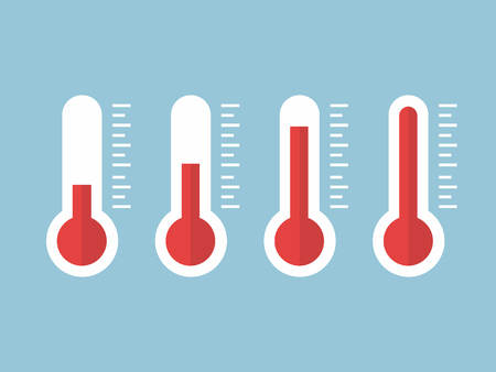illustration of red thermometers with different levels, flat style, EPS10. Иллюстрация