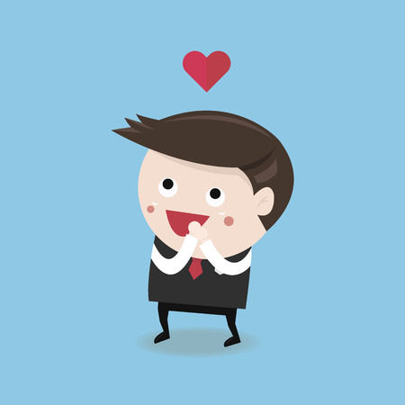 Businessman in love concept, VECTOR, EPS10
