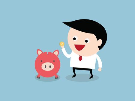 cash: empresario ahorrar dinero, vector EPS10.