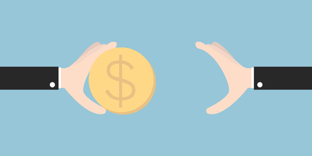 Two vector hands, giving money. flat design, vector EPS10. Иллюстрация