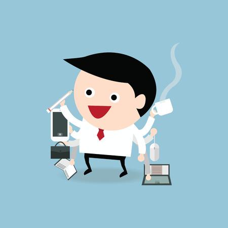 multi: Businessman with multi tasking and multi skill, flat design