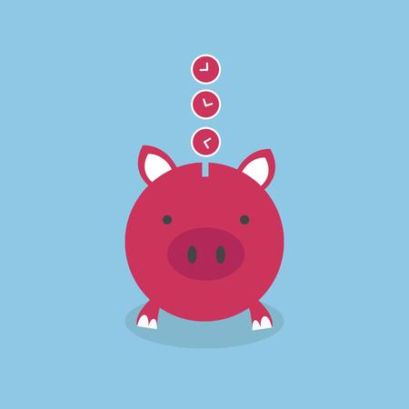 saving bank: Time is Money Piggy Bank, flat design, vector Illustration