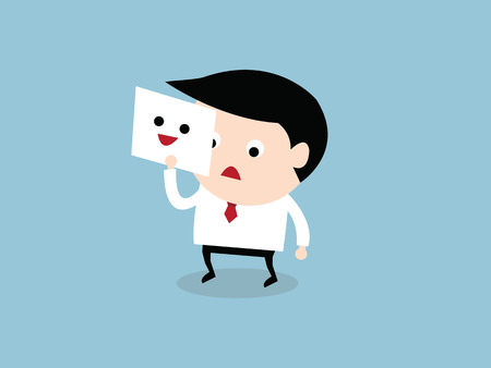 hide: Businessman hide his tired face by holding smile mask, vector