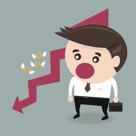 money flying: Empresario fallar y dinero volando, vector, diseño plano