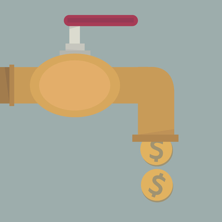 Money coins fall out of golden faucet, flat design Illustration