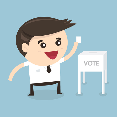 polling booth: Businessman vote at ballot box, Vector illustration, flat design Illustration