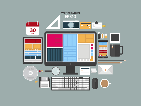 office stuff: Flat design modern vector illustration concept of creative office workspace, workplace with computer. workstation, digital devices, office objects, tool coffee and documents.