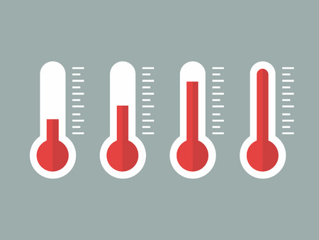 coldness: illustration of red thermometers with different levels, flat style, EPS10. Illustration