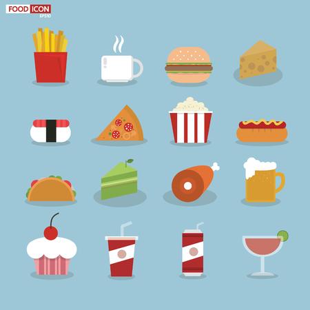 comida chatarra: Iconos del alimento, diseño plano