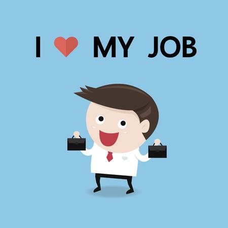 Happy businessman. I love my job business concept, flat design