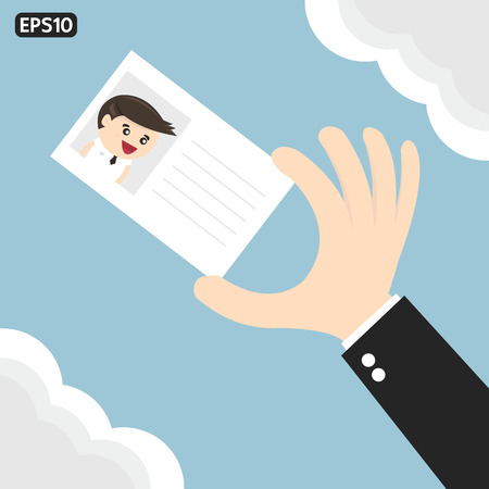 hand holding card: Businessman hand holding card, flat design, vector EPS10.