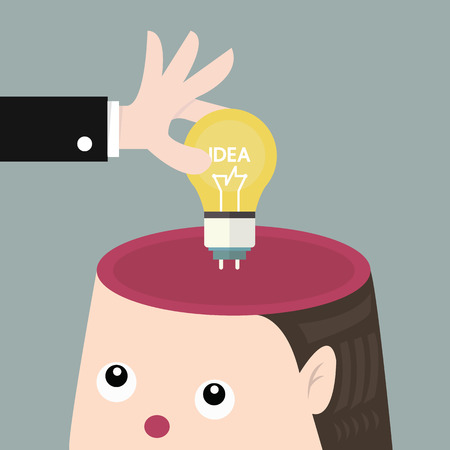 brain and thinking: add Ideas concept, flat design