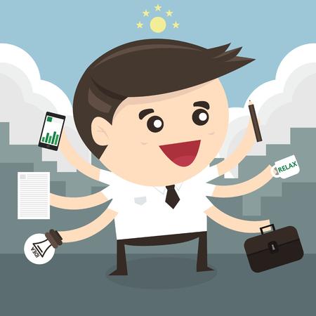 tasking: Businessman with multi tasking and multi skill, flat design