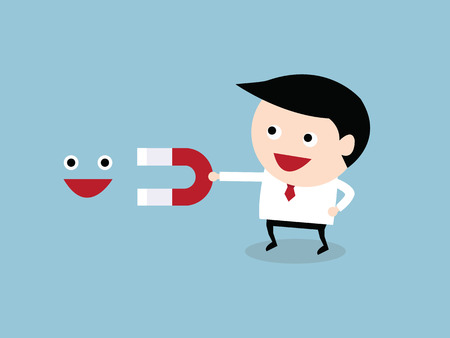 Businessman hold abstract magnet attracting smiles. Happiness concept, vector