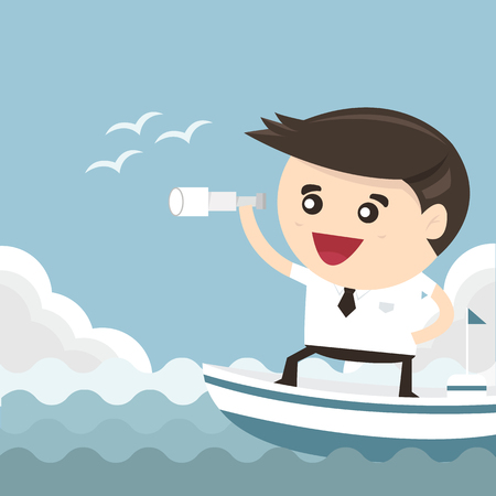 spyglass: Businessman with a spyglass on a boat, vision leadership