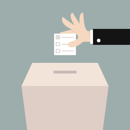 balloting: Vote ballot with box. Vector illustration, flat design
