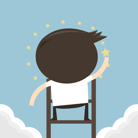 man looking at sky: Businessman trying to catch the star, flat design, vector eps10