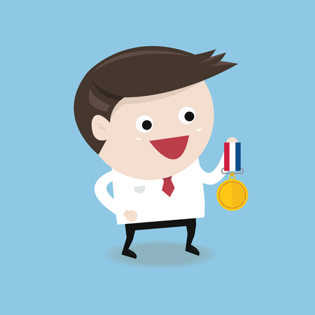 commendation: Businessman holding gold coin, winner concept
