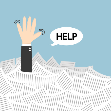 disheartened: Businessman need help under a lot of white paper, flat design Illustration
