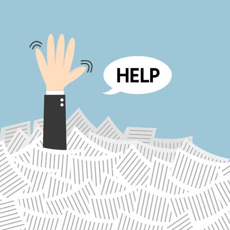 Businessman need help under a lot of white paper, flat design Ilustração