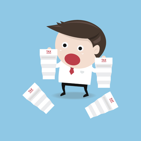 shocked: Businessman shocked when he reading the documents, tax, flat design