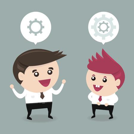 businessteam: Business man brainstorming flat design Illustration