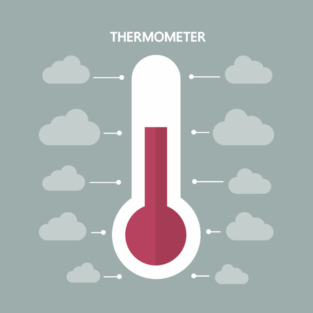 termometer: Thermometer with clouds, flat design, vector