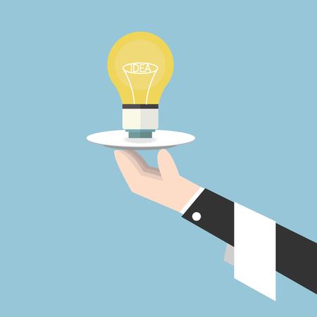 Serving light bulb vector, flat design, idea concept