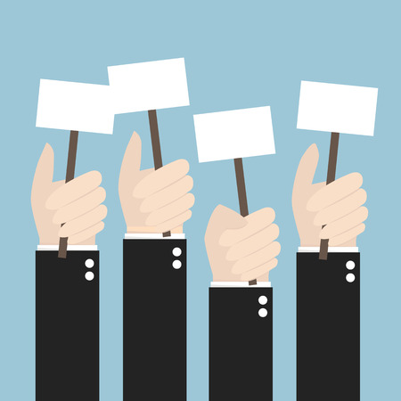illustion: Businessmen holding a signboard with the blank paper. A lot of hands hold placards. flat design, illustion
