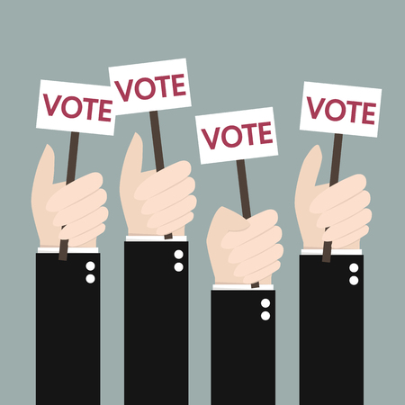 illustion: Businessmen holding a signboard with the word vote. A lot of hands hold placards. flat design, illustion