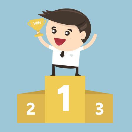 best employee: The Winner Businessman, flat design ,vector
